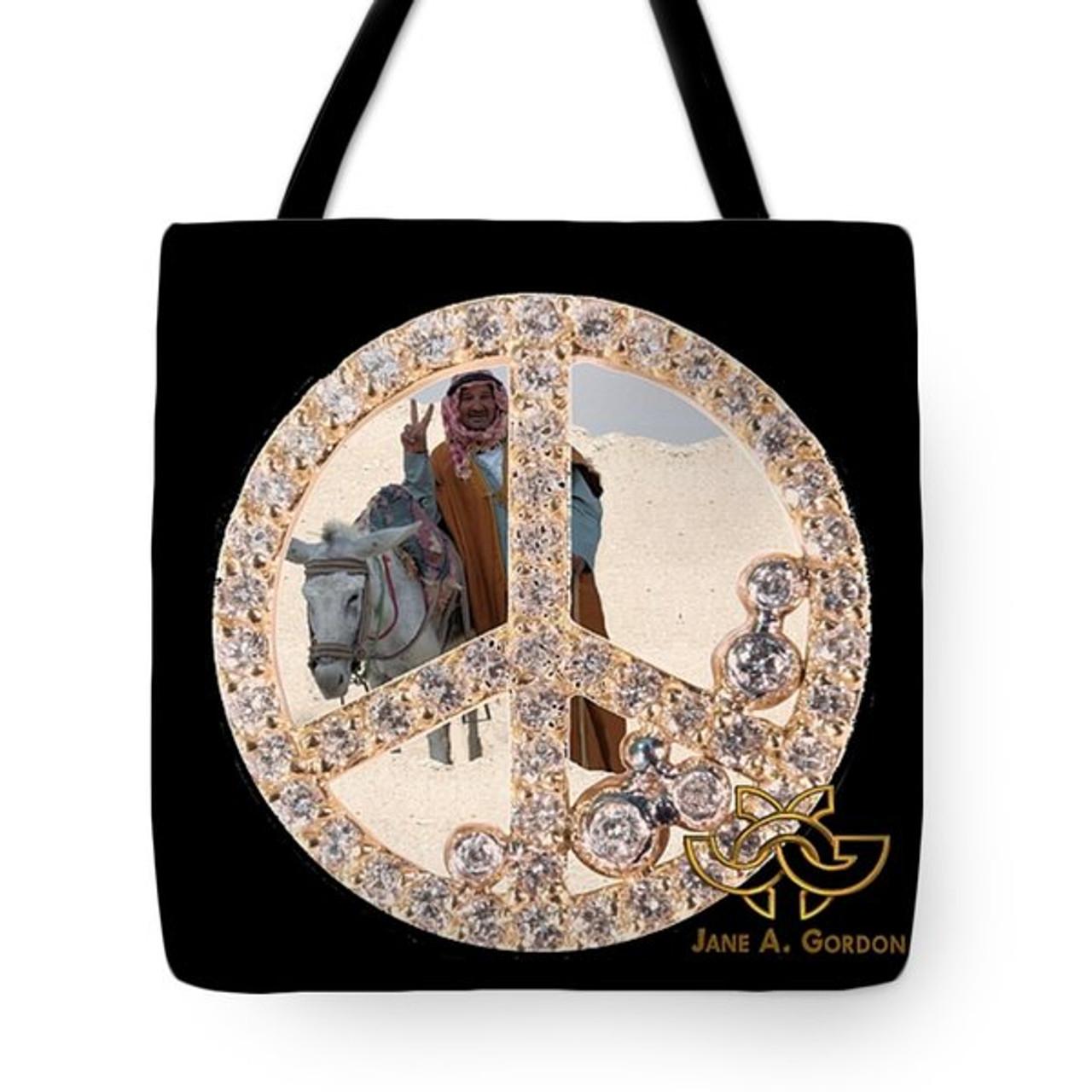 Peace inside peace. Art meets fashion in artful tote bags