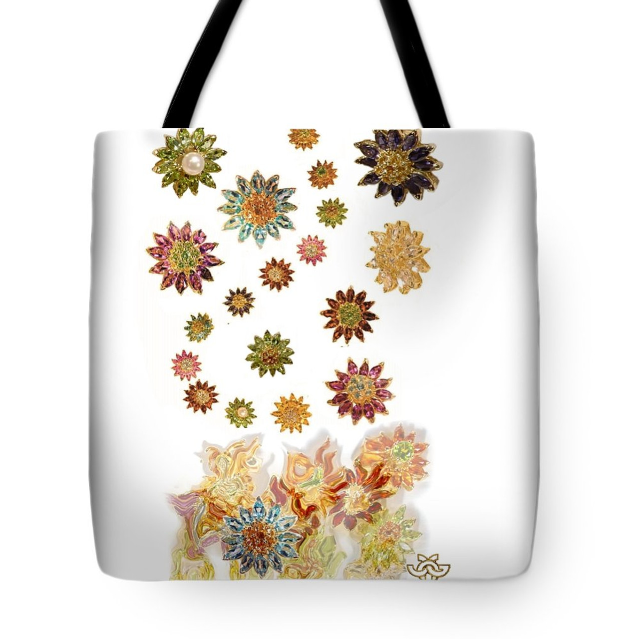 Gemstone Daisies  Art meets fashion tote bag