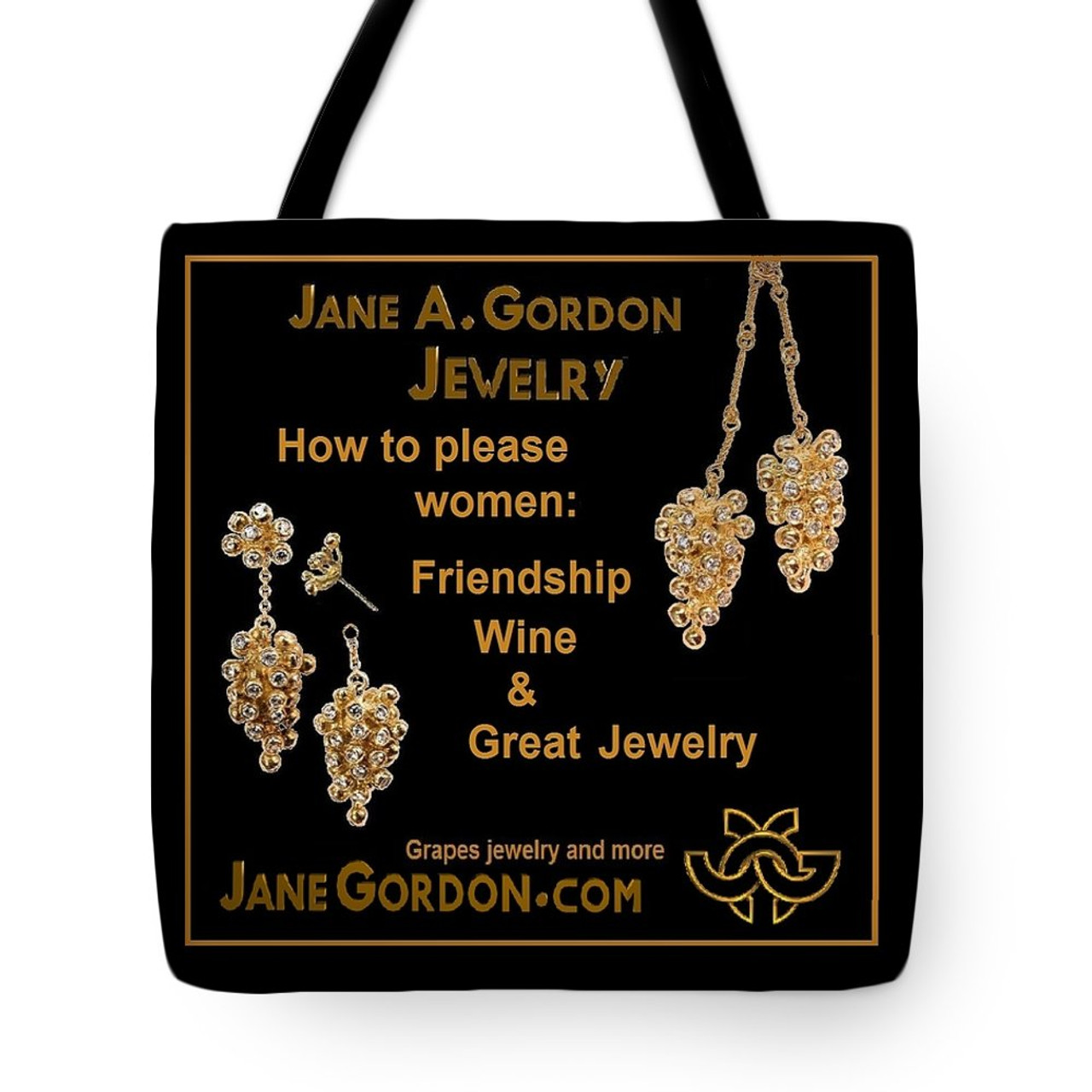 """How to Please Women""  Grapes jewelry on artful tote bags: Art meets fashion."