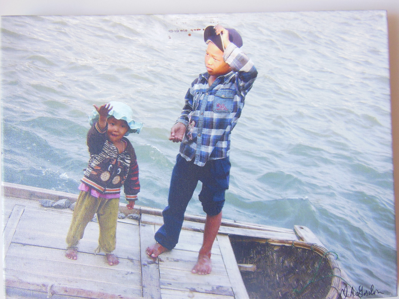 Children on the Water.  Halong Bay. Vietnam.  Giclee