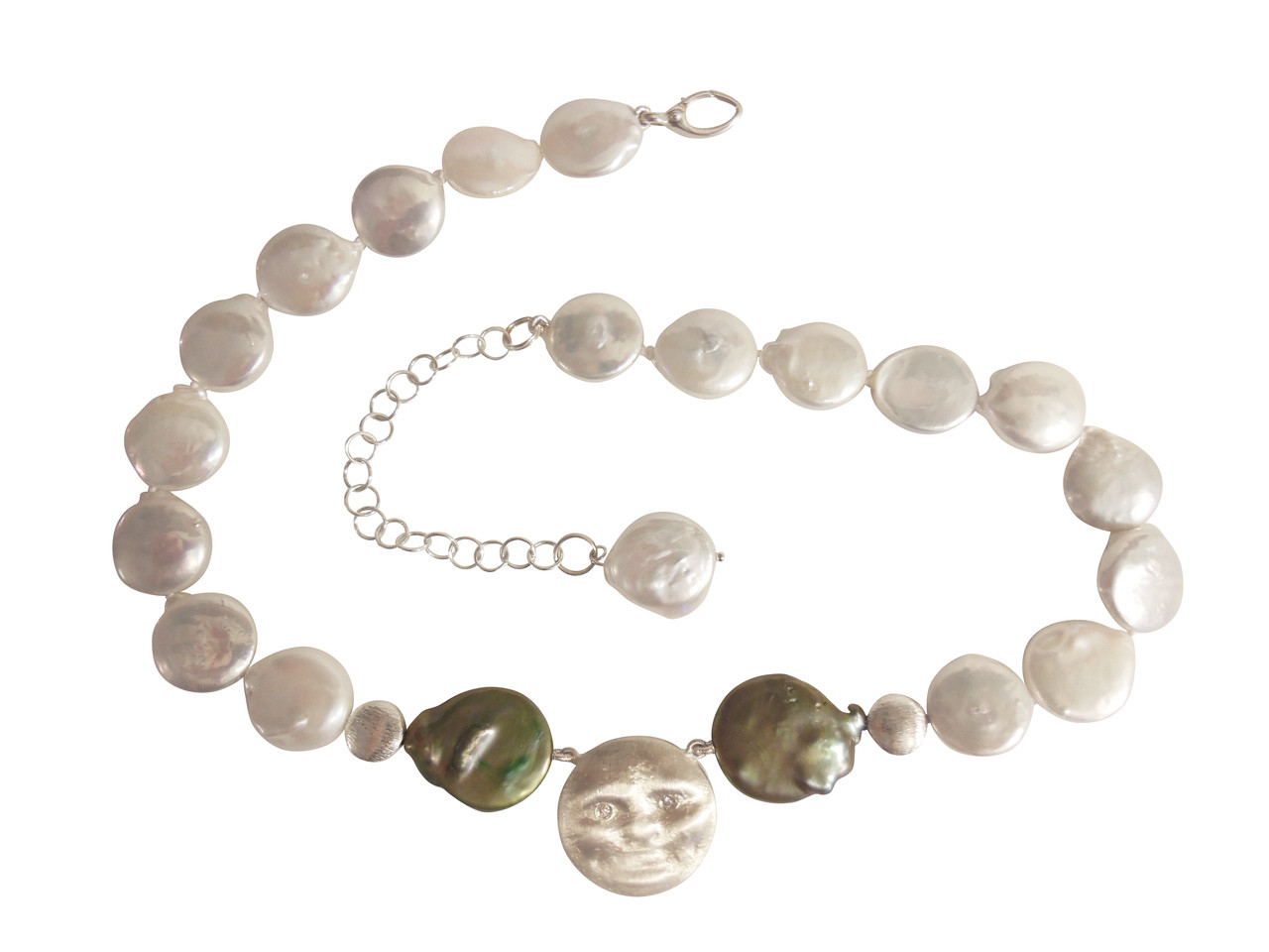 Sterling Silver Face, Diamond Eyes on coin pearl necklace: small