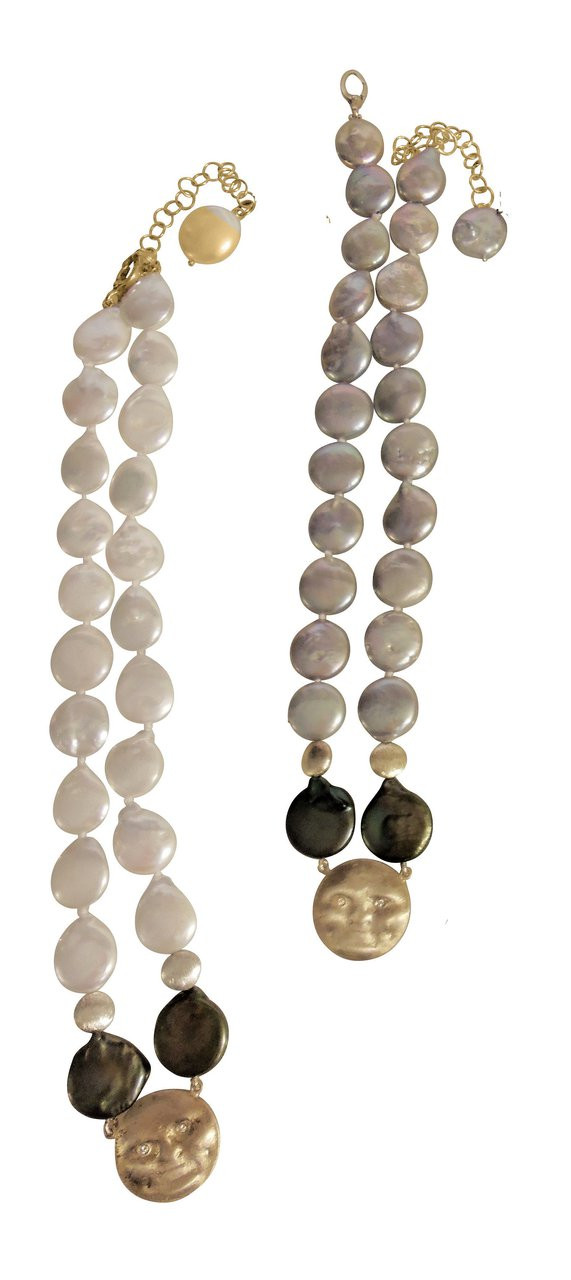 Sterling Face, Diamond Eyes on coin pearl necklace: small