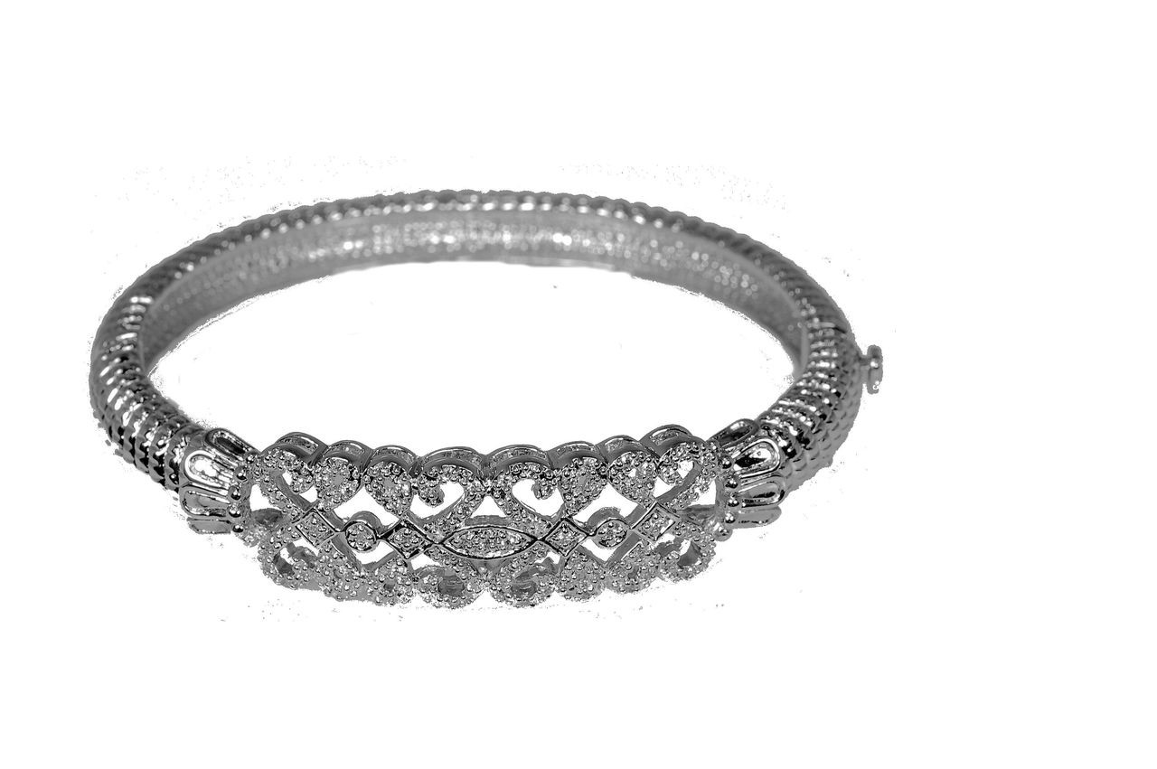 Napoli- Oval bangle bracelet. Sterling Silver & CZ