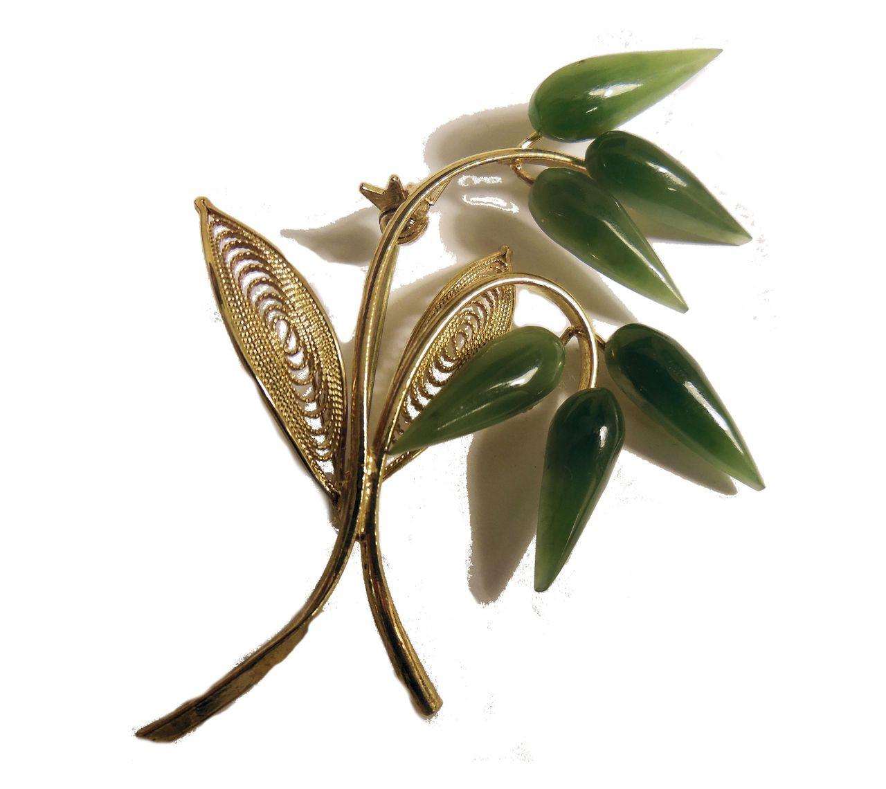 Vintage Jade Leaves on a Branch Brooch
