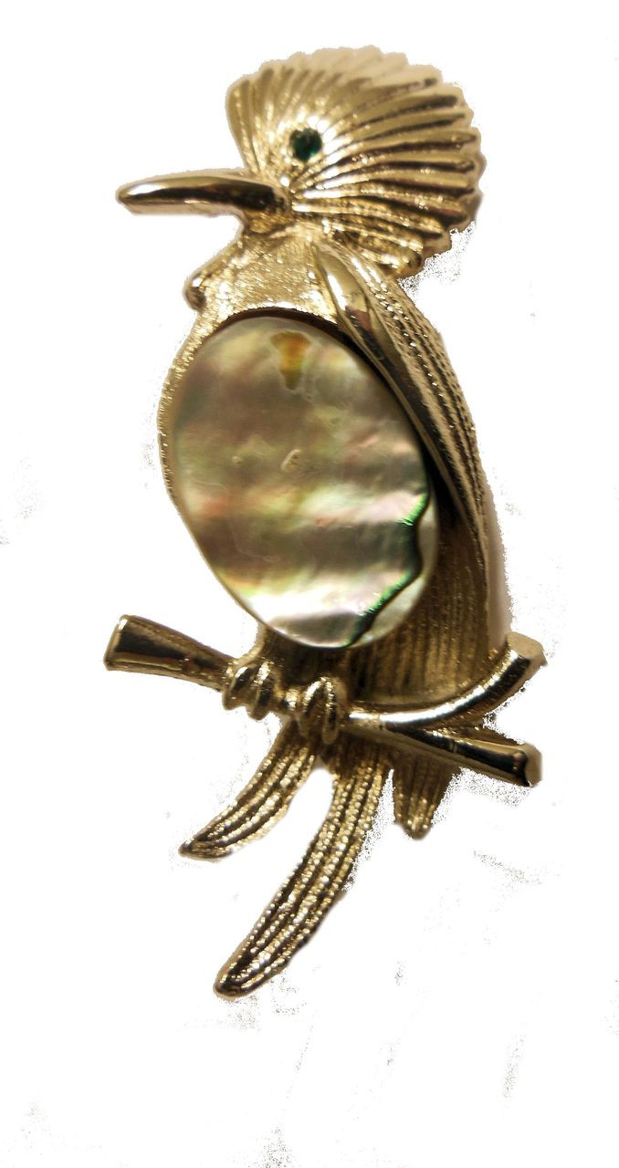 Vintage Bird Brooch with Mother of Pearl Tummy