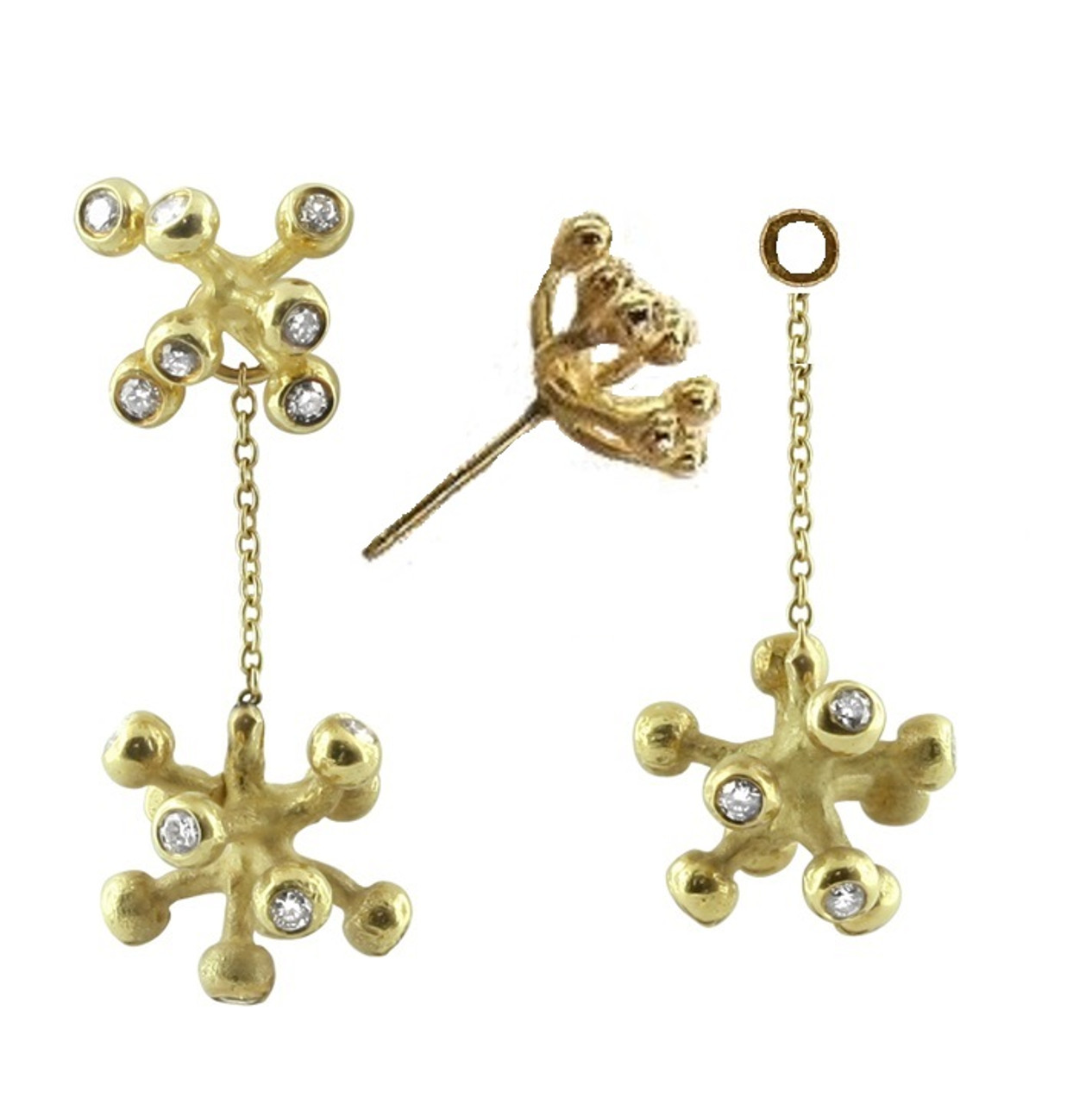 These Starburst drop earrings are available as a drop alone, or with a little ring at the top so they can be worn with fireworks studs, or with your own stud earrings.