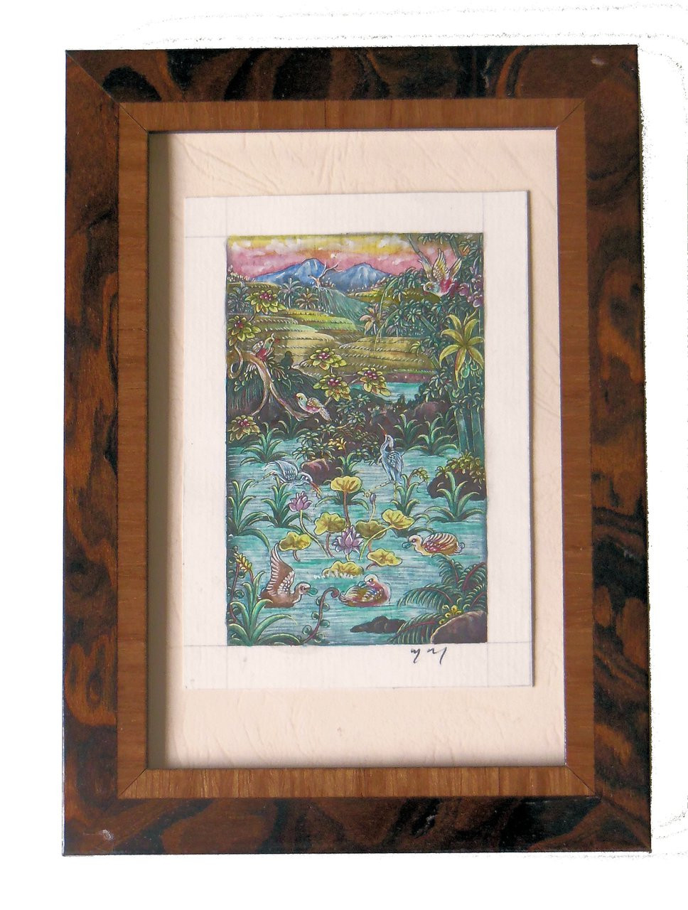 Colorful imaginary landscape from Bali, in Italian wood frame. Pen and ink