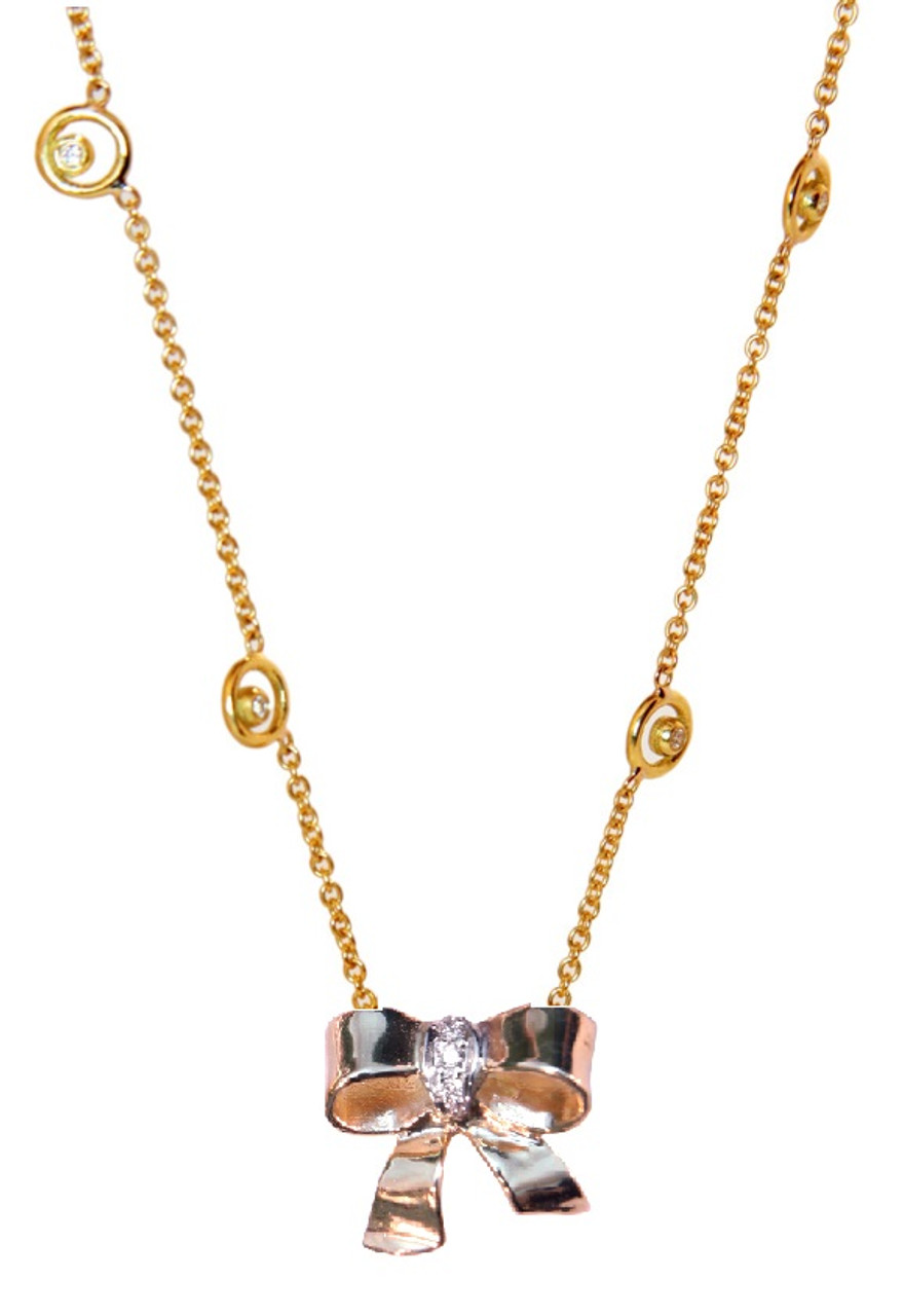 Bow Necklace-18K gold with diamonds on Karma chain with diamond dots
