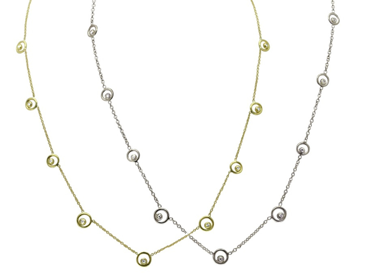 Karma Chain- Sterling Silver with Ripples of Diamonds