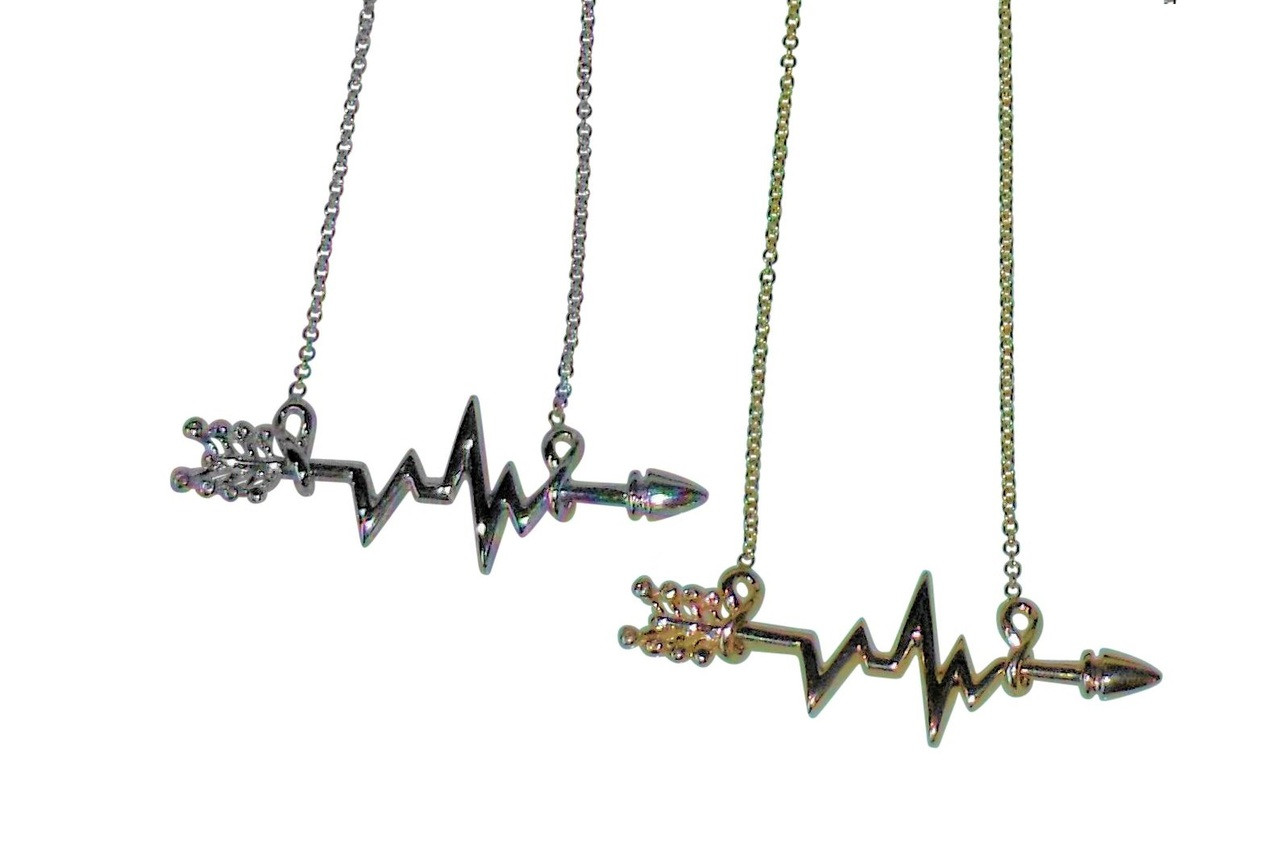 Heartbeat Arrow with Infinity links- Necklace- 14K gold