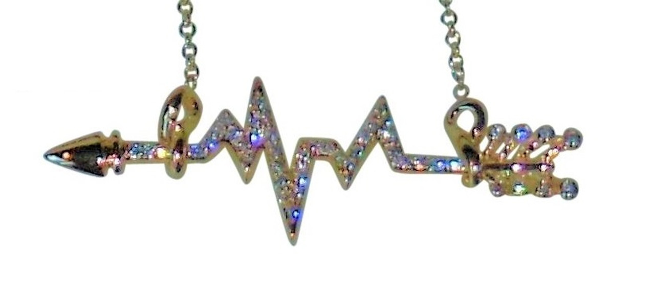 Heartbeat Arrow with Infinity links- Necklace- 18K gold with diamonds