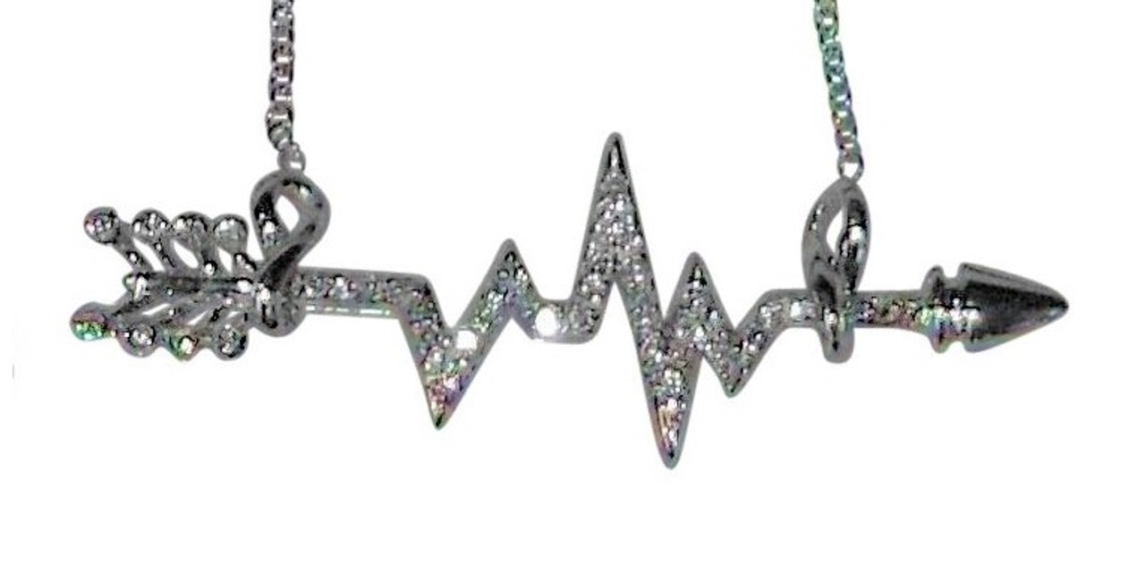 Heartbeat Arrow with Infinity links- Necklace- 14K gold with diamonds