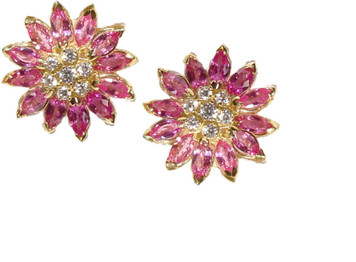 Daisy earrings, 18K and colored gem stones