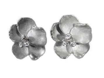 Metal petals- Pansy earring-Large-Sterling with plate options