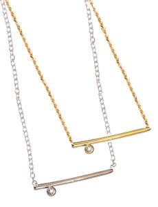 Dot & Line- Sterling & One Diamond Necklace