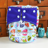 Willow & Sage Bamboo Charcoal Cloth Diaper -  Hoot Hoot Blue