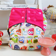 Willow & Sage Bamboo Charcoal Cloth Diaper -  Hoot Hoot Pink