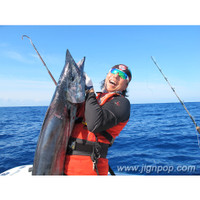 65lb Wahoo was caught with Black Hole Cape Cod Special 350g Conventional Rod and Jigging Master PE8 Reel (Bermuda, April 2012)