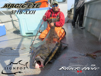 Black Hole Magic eye 571B-XXH Rod & Jigging Master PE2 Reel vs. Halibut in Alaska