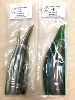 """Bill Hurley Cape Cod Sand Eels Tails 9"""" 4PK (Rat Tails / Made from Pure Sand Eel Oil)"""