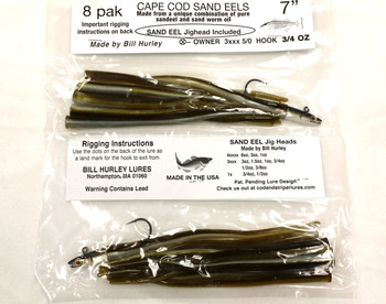 "Bill Hurley Cape Cod Sand Eels 7"" 8PK (1x Sand Eel Lure + 7 x Mouse Tails / Made from Pure Sand Eel & Sand Worm Oil)"