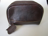 Shave & Toiletry bag~Havana brown Small size 6 x 4 1/2 x 3
