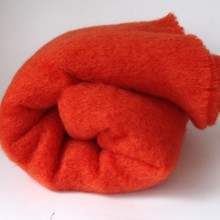 'Hibiscus' Orange Mohair Throw Blanket
