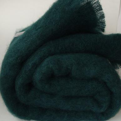 'Bottle' Green mohair throw blanket