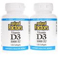 Natural Factors Vitamin D3 5,000 IU 120 sg Bonus Pack