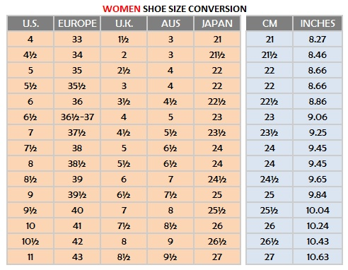 Women shoe sizes
