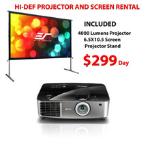 Hi Def Package containing a 4000 Lumen projector and 6.5 x 10.5 Screen only $299