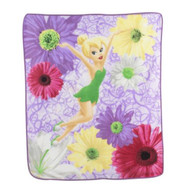 Disney Fairies Tinkerbell Floral Micro Raschel Throw
