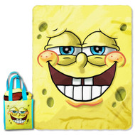 "SpongeBob SquarePants ""Grinning Bob"" Micro Raschel Throw and Reusable Tote Set, 40 by 50-Inch"