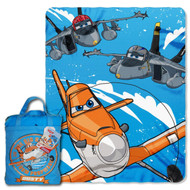 """Disney """"Planes, Happy Trails"""" Silk Touch 40 by 50-Inch Throw with Reusable Canvas Tote Set"""