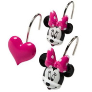 Disney Minnie Mouse and Hearts Bath Shower Curtain Hooks Set 12 Pink