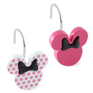 Disney Minnie Mouse Shower Curtain Hooks Set 12 Pink w/Dots