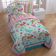 Just For Kids Flutter Flower 3-Piece Twin / Full Quilt Set