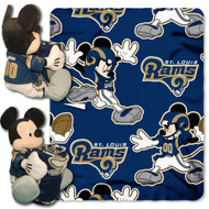 NFL St. Louis Rams Mickey Mouse Pillow with Fleece Throw Blanket Set
