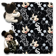 MLB Chicago White Sox Mickey Mouse Pillow with Fleece Throw Blanket Set