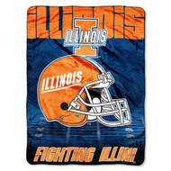 "NCAA Illinois Fighting Illini 60-Inch-by-80-Inch Micro Raschel Blanket, ""Overtime"" Design"