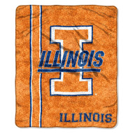 """NCAA Illinois Fighting Illini 50-Inch-by-60-Inch Sherpa on Sherpa Throw Blanket """"Jersey"""" Design"""