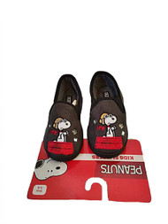 Peanuts Snoopy Boys Micro Suede Slippers House Shoes (L 9/10, Grey)