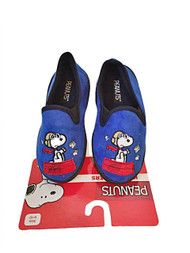 Peanuts Snoopy Boys Micro Suede Slippers House Shoes (L 9/10, Royal Blue)