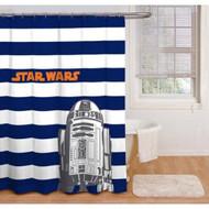 Star Wars Blue & White Stripes Peva Shower Curtain
