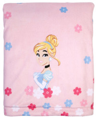 Disney Princess Cinderella Velboa Plush Blanket w/Coral Fleece back