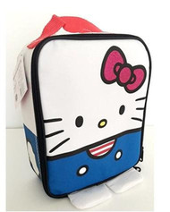 Sanrio Hello Kitty Rectangle White and Blue Lunchbag Sparkle Pink Bow