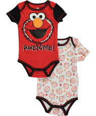 """Sesame Street Baby Boys' """"Awesome Faces"""" 2-Pack Bodysuits"""