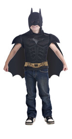 Boys Batman The Dark Knight Rises Muscle Chest T-Shirt Mask and Cape Costume