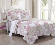 3 Piece Queen Tabitha Rose Quilt Set