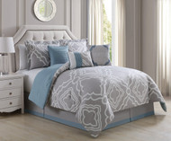 7 Piece King Gentle Taupe/Blue Comforter Set